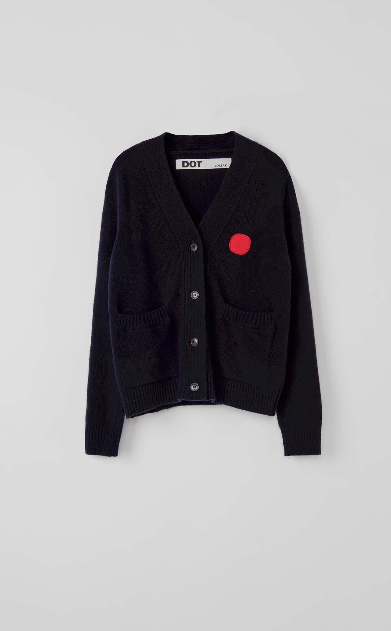 Jersey Cardigan V Dot